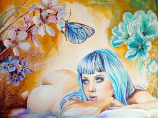Картинка рисованные люди руки цветы бабочка синие волосы лицо взгляд девушка попа лежит christina papagianni