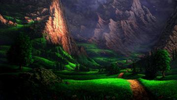 Картинка рисованное природа горы склоны птицы дом пейзаж