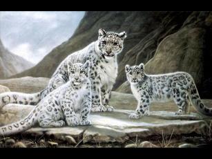 обоя рисованные, животные, барсы