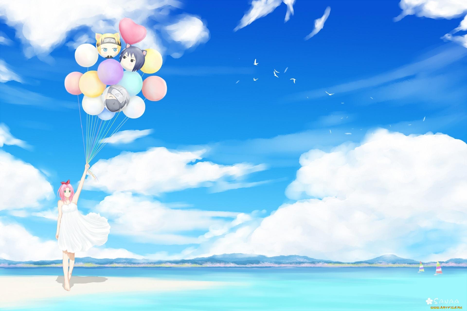 шары девочка небо скачать