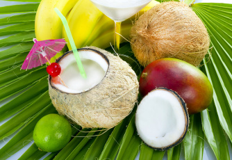 Картинка еда напитки +коктейль лайм бананы кокос манго