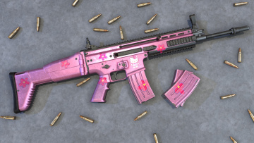 обоя оружие, 3d, scar, pink, assault, rifle