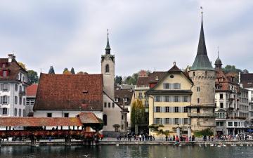 Картинка швейцария люцерн города улицы площади набережные река дома