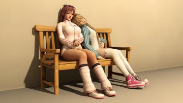 Картинка 3д+графика люди+ people девушки скамейка фон взгляд