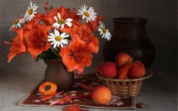 Картинка еда персики +сливы +абрикосы лето букет кувшин лилии ромашки абрикосы фрукты плоды натюрморт