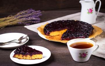 Картинка еда пироги чай лаванда смородиновый выпечка пирог