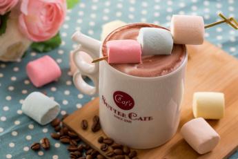 Картинка еда напитки зефир какао
