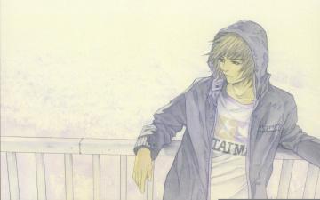 обоя аниме, unknown,  другое, надпись, набросок, капюшон, парень, куртка