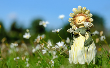 обоя разное, игрушки, цветы, ромашки, кукла, фигурка, поле, лето, трава