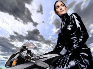 обоя во, млин, мотоциклы, мото, девушкой
