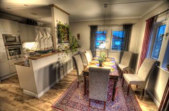 Картинка интерьер столовая стол стулья