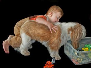 обоя рисованное, дети, собака, мальчик, черный, фон, игрушки