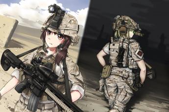 обоя аниме, оружие,  техника,  технологии, девушки