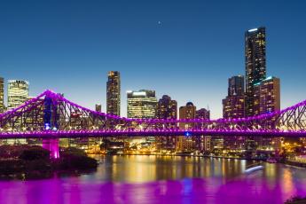 обоя австралия, города, - мосты, иллюминация, деревья, здания, небооскреб, водоем, фонари