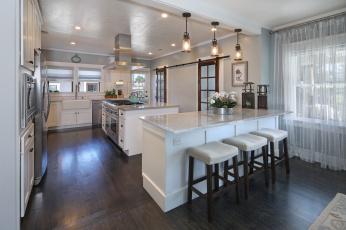обоя интерьер, кухня, стулья, мебель, фрукты, светильники