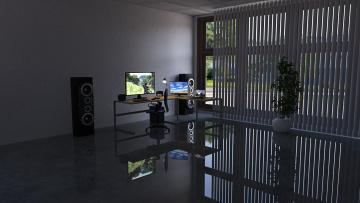 обоя 3д графика, реализм , realism, комната, компьютер, колонки, стол