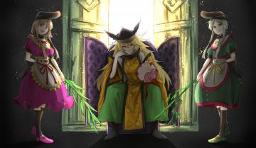 обоя аниме, touhou, фон, взгляд, девушки