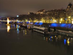 Картинка lyon france города огни ночного