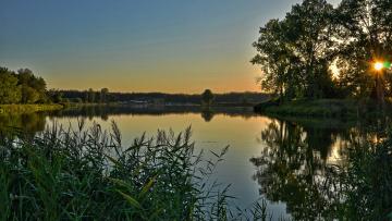 Картинка природа реки озера закат озеро