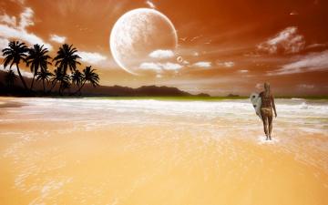 Картинка 3д графика atmosphere mood атмосфера настроения пляж океан доска девушка облака планеты пальмы