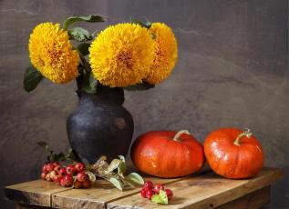 Картинка еда тыква ваза листики веточка подсолнух цветы