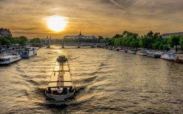 обоя корабли, баржи, река, мост, баржа