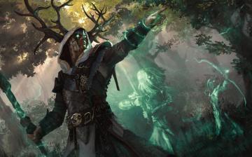 обоя фэнтези, призраки, лес, рога, маг, магия, посох, духи