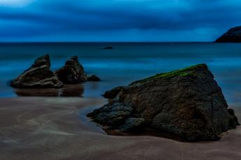 обоя природа, побережье, ночь, море, камни