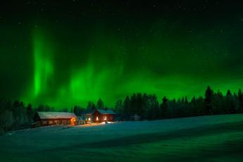 обоя природа, северное сияние, ночь, небо, деревья, дома, снег