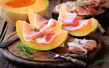 обоя еда, разное, jamon, melon, дыня, мясо