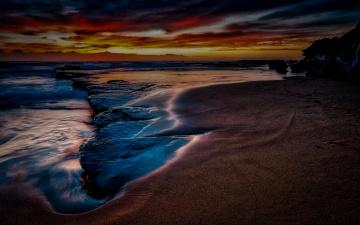 обоя природа, побережье, ночь, камни, море