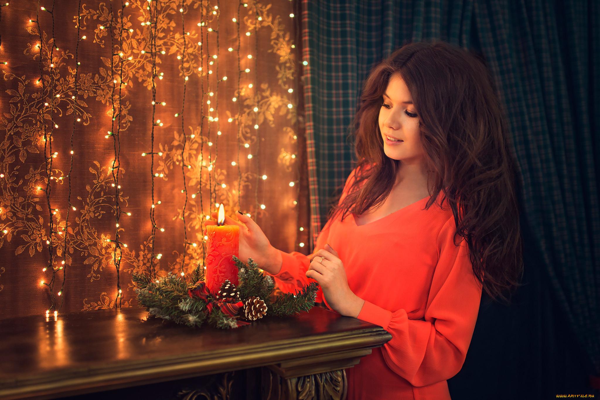 девушка свечи дерево  № 1505235  скачать