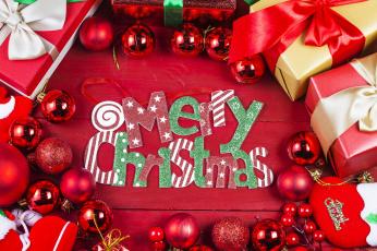 обоя праздничные, - разное , новый год, шары, новый, год, подарки, праздник, надпись