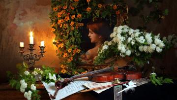 обоя музыка, -музыкальные инструменты, ноты, портрет, свечи, скрипка