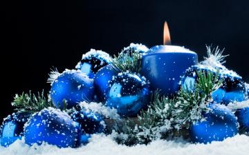 Картинка праздничные шарики ветка свеча