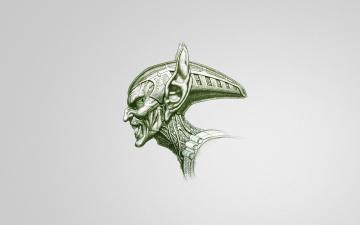 Картинка рисованные минимализм зеленый гоблин улыбка светлый фон злодей spider-man green goblin уши