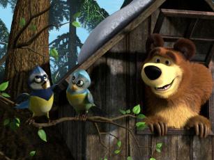 Картинка мультфильмы маша медведь птицы