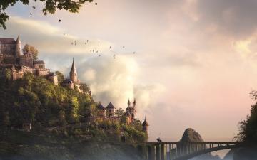 Картинка фэнтези замки замок небо пейзаж всадник