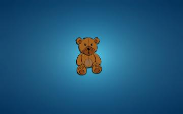 Картинка медведь рисованные минимализм синий фон сидит мишка
