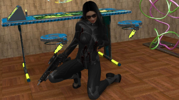 Картинка 3д+графика фантазия+ fantasy девушка взгляд фон оружие