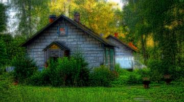 обоя города, - здания,  дома, деревья, дом, старый