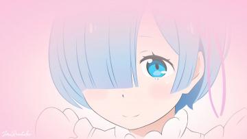 обоя аниме, re,  zero kara hajimeru isekai seikatsu, фон, девушка, взгляд