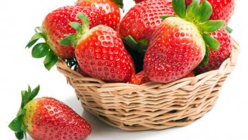 обоя еда, клубника,  земляника, ягоды, корзинка