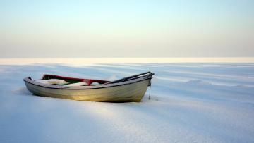 обоя корабли, лодки,  шлюпки, лодка, снег, зима