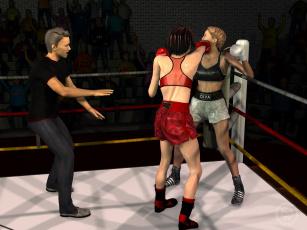 обоя 3д графика, спорт , sport, ринг, девушки, фон, взгляд, бокс
