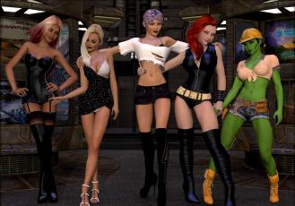 обоя 3д графика, фантазия , fantasy, фон, девушки, взгляд