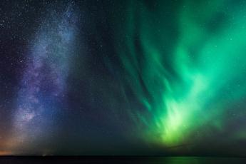 обоя природа, северное сияние, ночь, небо