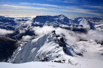 обоя природа, горы, облака, снег
