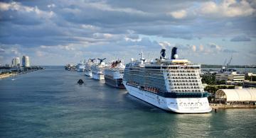 обоя port miami, корабли, лайнеры, лайнер, круиз