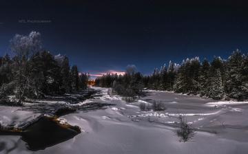 обоя природа, зима, снег, лес